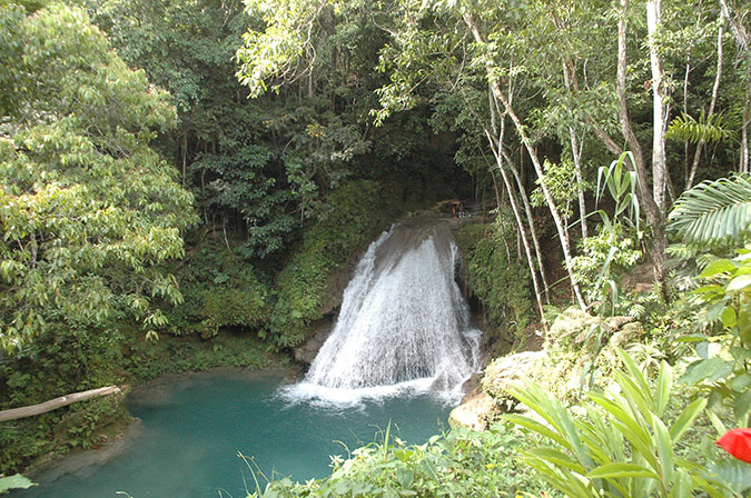 Secret Falls at The Blue Hole