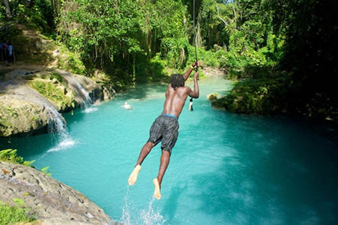 Rope Swing at the Blue Hole.