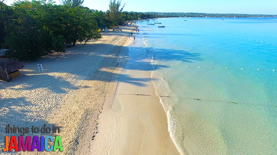 Aerial shot of 7 mile beach in negril jamaica