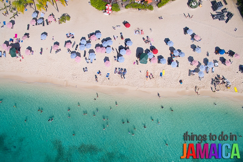 Aerial shot of snorkeling at Doctors Cave Beach