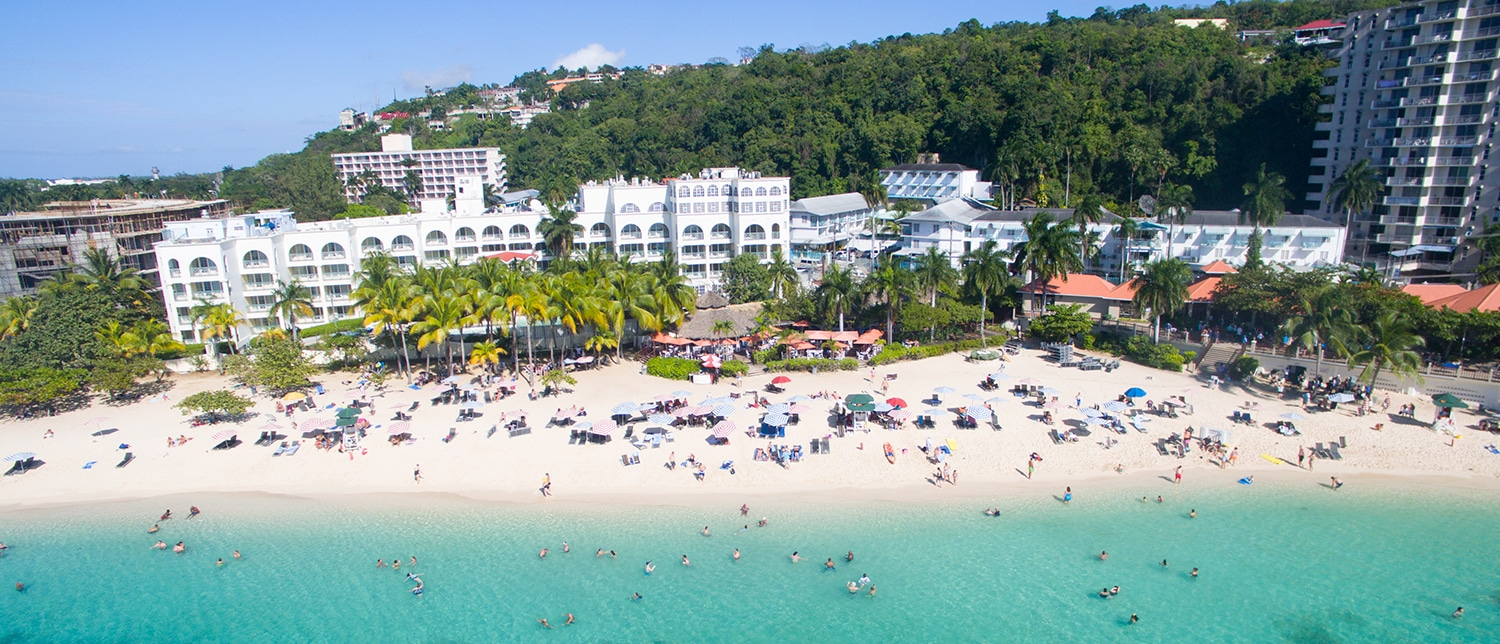 Aerial shot of Doctors Cave Beach in Montego Bay