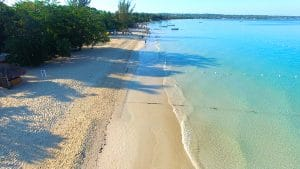 Aerial 2 of 7 mile beach in Negril