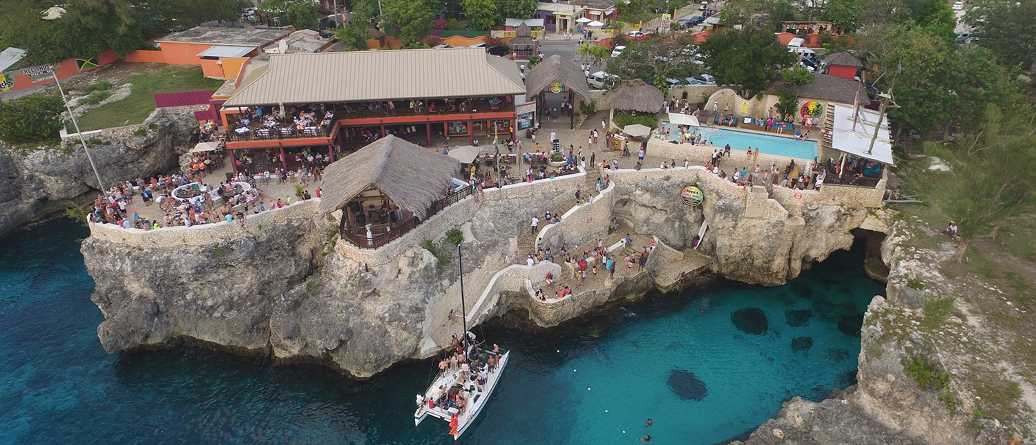 Aerial shot of Ricks Cafe in Negril, Jamaica