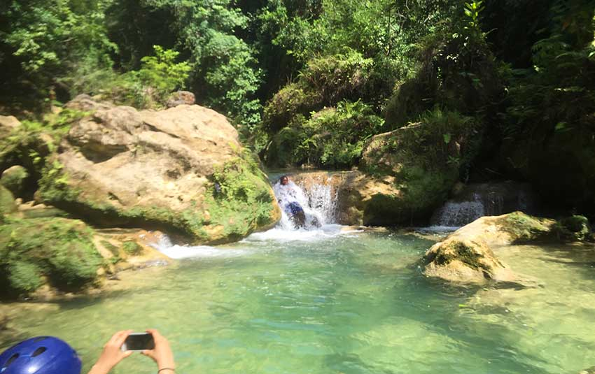 Rio Bueno Jamaica mini waterfall massage.